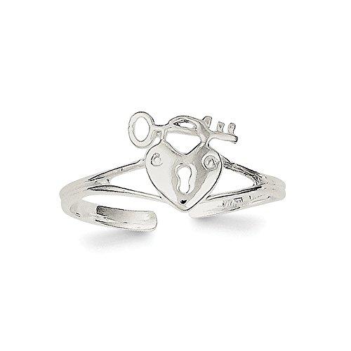 Lock Sterling Silver Italian Charm (Sterling Silver Heart Lock & Key Toe Ring)