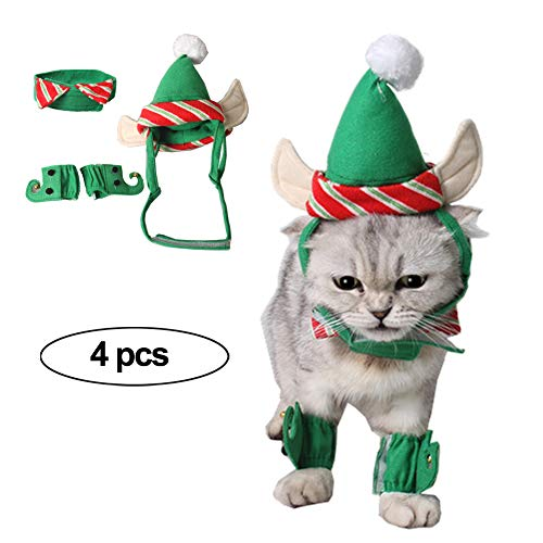 Costumes For Your Cat (Fast and Good Cat Santa Christmas Elf Hat + Collar + 2Pcs Elf Foot Straps, Head Wear Accesories Christmas Costume Green Elf Outfits for Pet Dog Cat Rabbit(Pack of)