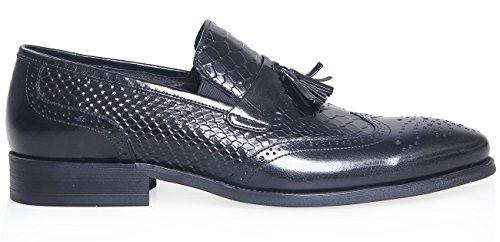 Elanroman Tassel Geprägte Herren Leder Schuhe Loafer Slip on Schwarz 5q5fRSnrw