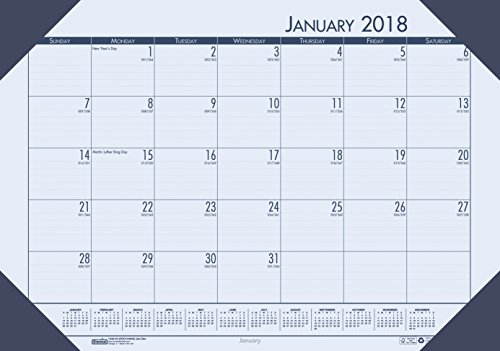 House of Doolittle 2018 Monthly Desk Pad Calendar, EcoTones, Blue Paper, 22 x 17 Inches, January - December (HOD12440-18) (Monthly Calendar Desk Pad Ecotones)