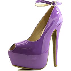 DailyShoes Women's Extreme High Fashion Ankle Strap Peep Toe Hidden Platform Sexy Stiletto High Heel Pump Shoes PurplePatent-08