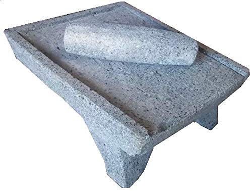 Made in Mexico Genuine Mexican Azteca Manual Volcanic Lava Rock Metate Y Mano Mortar and Ground Stone Grains Seeds Spices Corn Elote Maíz Chocolate #10 by always-quality