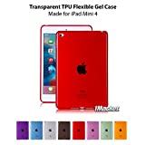 iPad Mini 4 Clear TPU Case, iMacket TotalShield Crystal Clear Soft TPU Gel Case with Shock Absorption for Apple iPad Mini 4 [Latest Version] (Red)