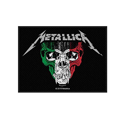 Metallica Patch Italy Slull Flag Band Logo Official 10Cm X 7.5Cm Woven Sew On
