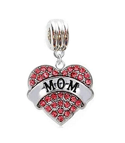 Heavens Jewelry Love My MOM Heart with Pink Crystals Charm Slide Pendant for Your Necklace European Charm Bracelet (Fits Most Name Brands) DIY Projects ETC