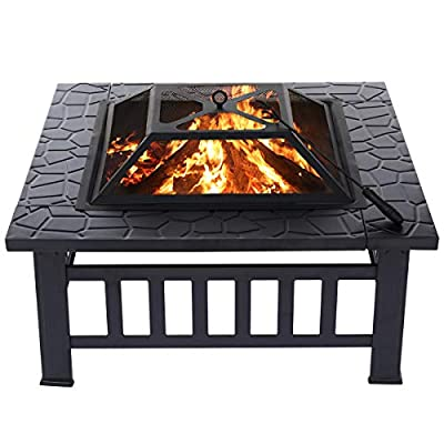 KingSo Outdoor Fire Pit Metal 32'' Square Patio Stove Burning Firepit with Spark Screen for Camping Picnic Bonfire Backyard