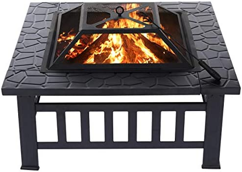 KingSo 32'' Outdoor Fire Pit Metal Square Firepit Patio Stove Wood Burning BBQ Grill Fire Pit Bowl