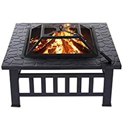 """Fire Pits KingSo 32"""" Outdoor Fire Pit Metal Square Firepit Patio Stove Wood Burning BBQ Grill Fire Pit Bowl with Spark Screen… firepits"""