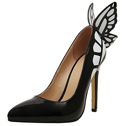 Noir Papillon Hauts Pointu Hooh Slip Femmes Toe On Talons Escarpins qxwnpFPzI