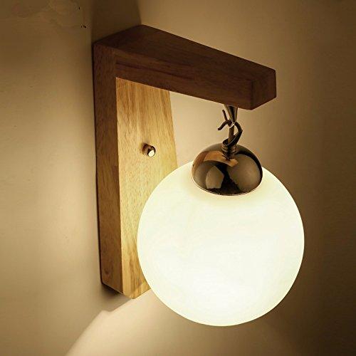 Anbiratlesn Modern E27 Vintage Rustikal Wandlampe für Schlafzimmer Wohnzimmer Korridor Badezimmer Küche Treppe, Veranda Lampe Glas Massivholz 12 CM  25 CM