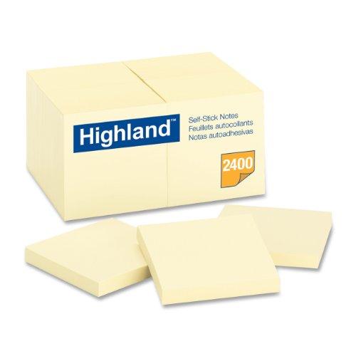 Highland Notes, 3 x 3 pulgadas, amarillo, 24 almohadillas /paquete