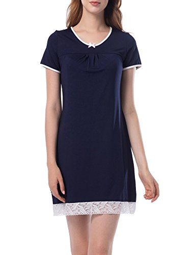 ZHENWEI Women's Night Pajamas Short Sleeve Scoop Neck Sleep Dress Sleep Tee Lace Trim Nightwear Dark Blue (Lace Trim Scoop Neck Tee)