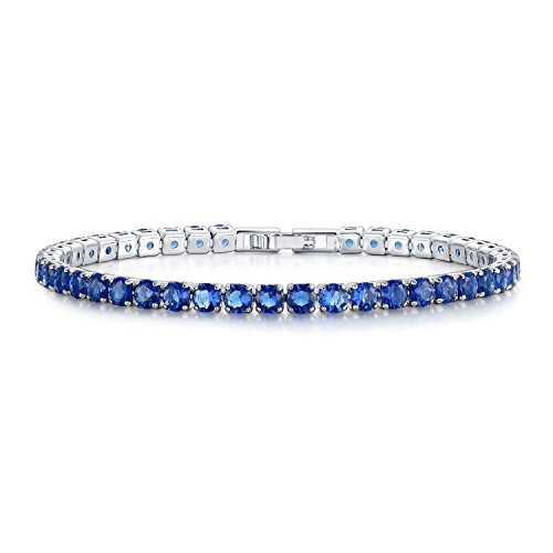 UMODE Jewelry Simulated Sapphire Diamond 0.25ct Blue Cubic Zirconia CZ Tennis Bracelet for Woman 6.5