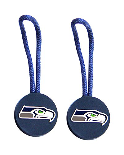 aminco NFL Seattle Seahawks Zipper Pull Charm Tag Set for Luggage & Pet ID (2 Pack), One Size, Blue