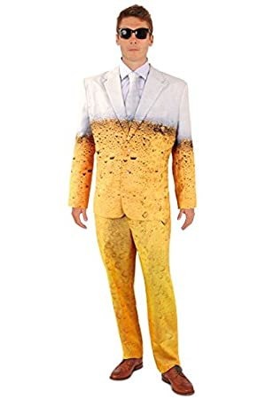 690d0e3d97f9 shoperama Lustiger Bier Anzug mit Krawatte Herren Kostüm Sakko Jackett Hose  Karneval Party, Größe:46