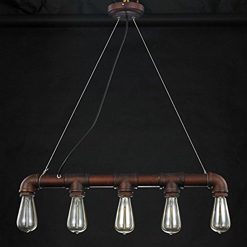 HWAMART ™ HL427 cinq têtes tuyau de cuivre Edison E27 pendentif steampunk industrielle lampe de lumière au plafond rustique millésime