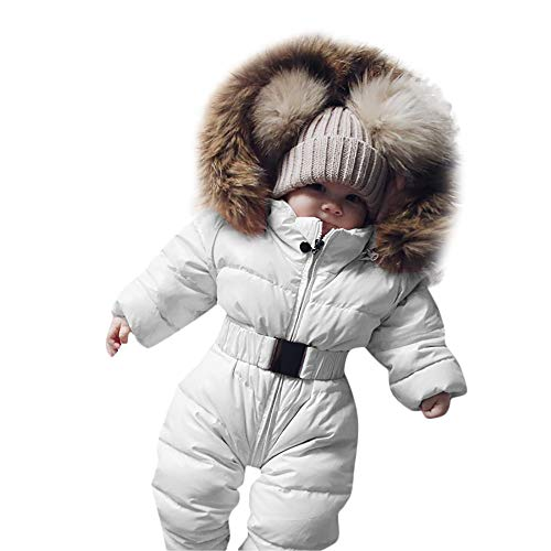 Franterd Baby Girls Boys Romper Down Jacket Hooded Jumpsuit Autumn & Winter Warm Thick Coat Onesie Snowsuit Clothes