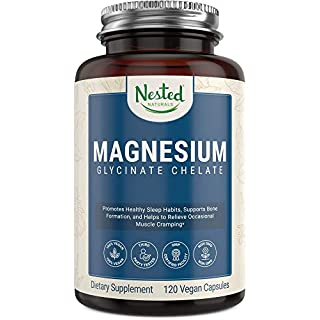 Magnesium Glycinate 200mg   Non-Laxative High Absorption Vegan Capsules   Bioavailable Caps for Tension, Muscle & Leg Cramps, Stress Relief, Sleep   Non-GMO 100% Chelated Bisglycinate Mag Supplement