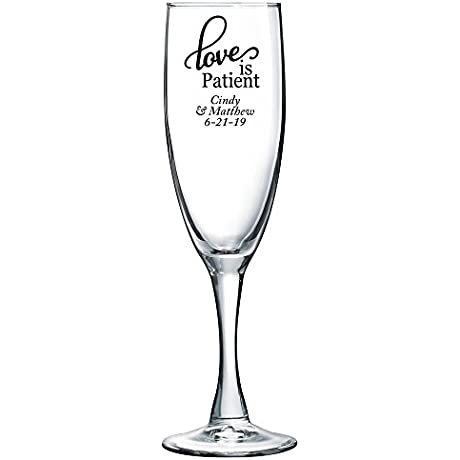 Personalized Color Printed Champagne Flute Love Is Patient Black 72 Pack