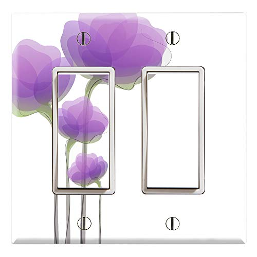 (Graphics Wallplates - Purple Watercolor Flowers - Dual Rocker/GFCI Outlet Wall Plate Cover)