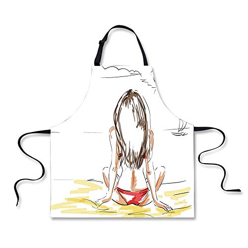 iPrint Cooking Apron,Fashion House Decor,Sketch of a Beautif