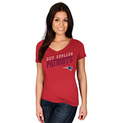 NFL New England Patriots Adult Women NFL Pluspatriots S/Cotton V Neck Te,1X,Red