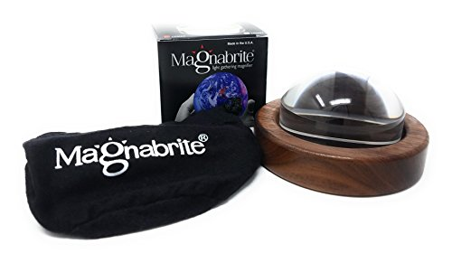 Walnut Dome - Magnabrite 2.5 inch Light Gathering Dome Magnifier with Round Walnut Base, new