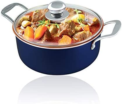Induction Pot Stove Pot 4.7-QT Nonstick Copper Ceramic Coating Casserole pot with lid Stainless Steel Induction Base Sauce Pot Copper stew pot copper pot with lid