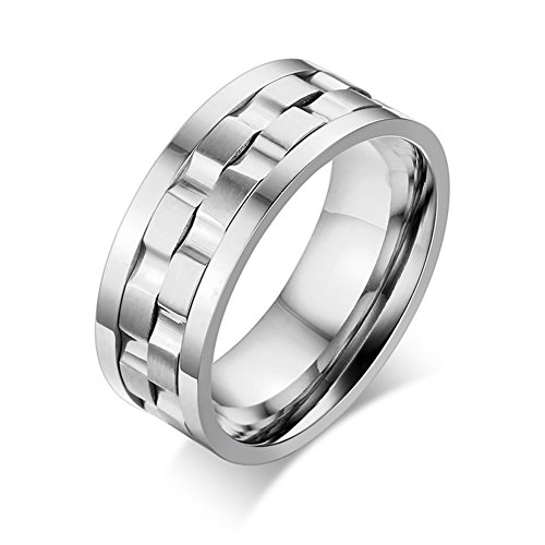 (JAJAFOOK Stainless Steel Brick Gear Design Spinner Men's Wedding Rings Band for Anxiety, 9mm )
