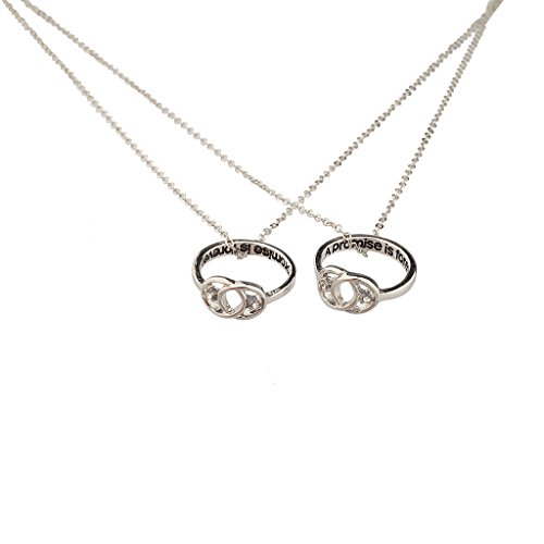 Lux Accessories A Promise is Forever Infinity Knot BFF Best Friends Matching Ring Necklace Set. ()