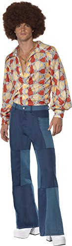 Smiffy's Men's Patchwork Flares Costume, Denim print patchwork pants, 70 Disco, Serious Fun, Size M, 33838 Bell Bottom Jeans Men