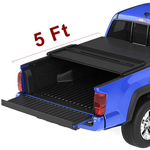 oEdRo TRI-FOLD Truck Bed Tonneau Cover Compatible with 2016-2019 Toyota Tacoma | Fleetside 5 Feet Bed