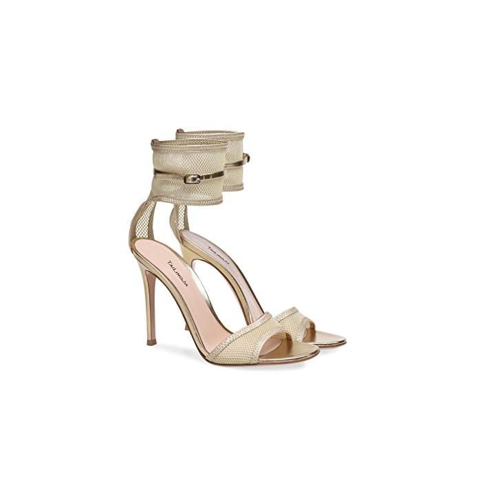 Lucky Clover-a Sandali Donna Ladies Block Tacco Alto Cinturino Alla Caviglia Peep Toe Con Scarpe Pompe Partito Lace Buckle Court Shoes beige eu40