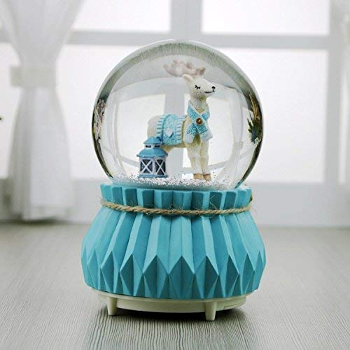 ZHAS Rotating Elk Music Box with Snow Scene for Valentine's Gift Interesting Toy
