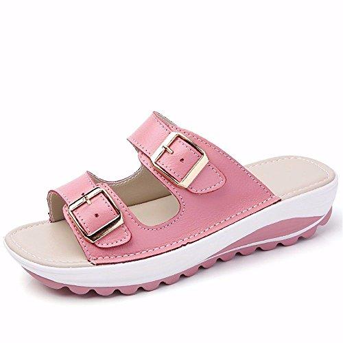 Fondo Pantofole Ladies' Pelle Codice Code Estate Europeo Piatto Pantofola Con Blu Outdoor European BTBTAV Pink 38 39 In v0pzWwxq0d