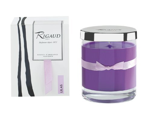 Rigaud Paris, Lilas Bougie D'ambiance Parfumee, Medium Candle Modele Complet with Metal Silver Lid, Purple, 5.6 Oz, 60 ()