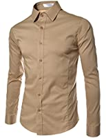 TheLees Mens casual slim fit basic dress shirts