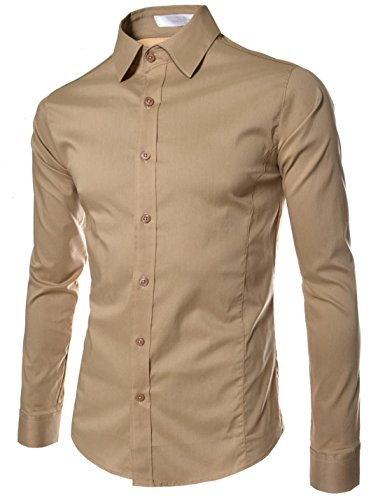 TheLees (STL) TheLees Mens casual slim fit basic dress shirts Beige US L(Tag size 2XL)