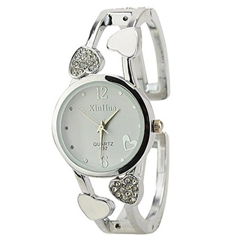 (ELEOPTION Women's Bangle Watch Bracelet Design Quartz Watch with Rhinestone Round Dial Stainless Steel Band Wrist Watches Free Women's Watch Box (Loving-White) )