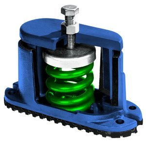 5-5/8''H 1/2'' x 4'' Screw 3/8''Dia Bolt 280Lb Housed Spring Floor Mount Vibration Isolator
