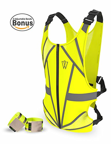 W Crazy Sale | Reflective Running Vest - Reflective Gear for Running, Cycling, Jogging, Walking, Motorcycle | Adjustable | Front Zipper | Back Pocket | Bonus - Set of 2 Bands | for Men and Women by W