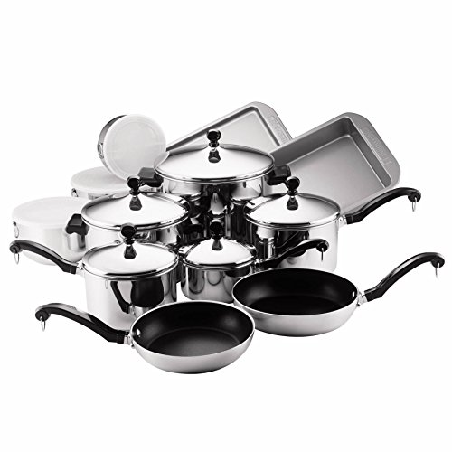 Farberware Classic Stainless Steel Nonstick 17-Piece Cookwar
