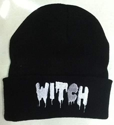 Color: Black LZLAN Order get Gift Unisex Women Men Autumn Winter Punk Letter Knitted Cap Elastic Hat Witch Hip-hop Pullover Warm Wool Hats