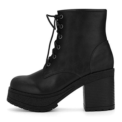 Allegra K Donne Grosso Tacco Piattaforma Allacciare Caviglia Stivali da Combattimento US Nero 9