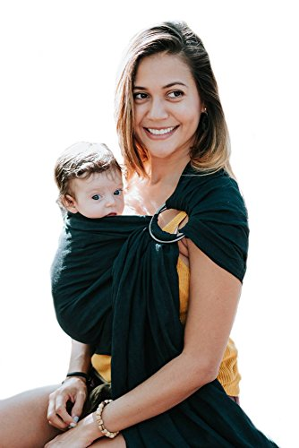 luxury black ring sling baby carrier – extra soft bamboo & linen fabric, full support & comfort for newborns, infants & toddlers - best christmas and baby shower gift - great for men too