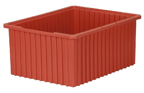 Akro-Mils 33220 Akro-Grid Slotted Divider Plastic Tote Box, 22-3/8 -Inch Length by 17-3/8-Inch Width by 10-Inch Height, Case of 2, Red