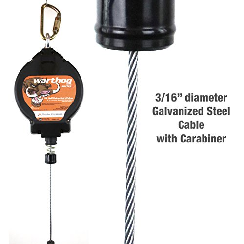 Malta Dynamics Fall Protection, 50-Foot Warthog Series Self and Secure Retracting Lifeline with Steel Snap Hook & Carabineer, OSHA/ANSI Compliant by Malta Dynamics (Image #3)