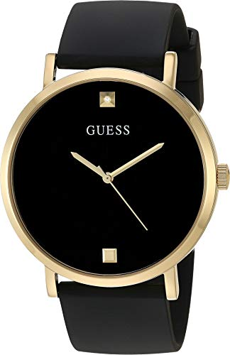 GUESS Men's Stainless Steel Japanese Automatic Watch with Silicone Strap, Black, 22 (Model: U1264G1)