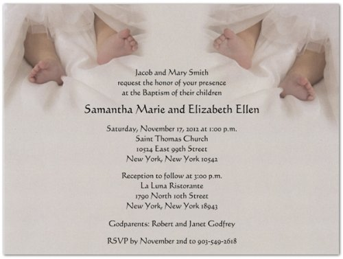Twins Christening Invitations (Twin Toes Baptism Christening Invitations - Set of)