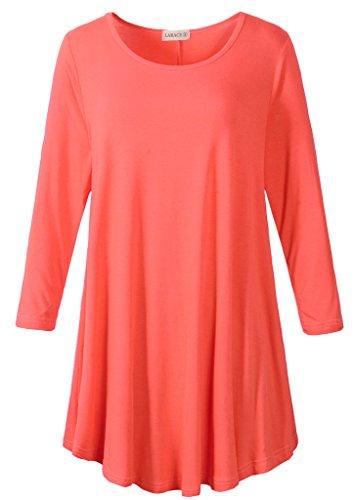 Asymmetric Tunic - LARACE Women 3/4 Sleeve Tunic Top Loose Fit Flare T-Shirt(2X, Watermelon)